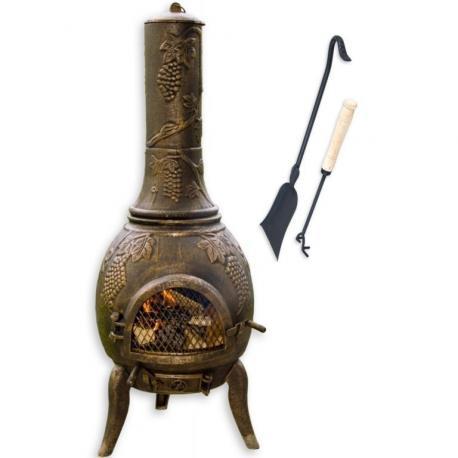 TERA Venkovní zahradní krb litina 120 cm - bronz