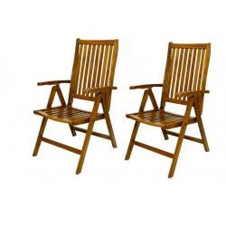 DIVERO skládací židle z akátového dřeva, 2 ks