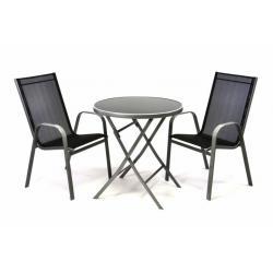 Zahradní set dvou křesel a skleněného stolku se sklopnou deskou