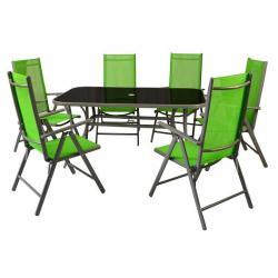 Hliníkový zahradní set - 7 dílů - zelený
