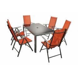 Moderní sada zahradního nábytku Garth 7 ks - oranžová