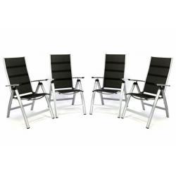 Sada 4 ks luxusních polohovatelných sklopných židlí s polstrováním - černé