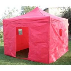 Zahradní párty stan DELUXE nůžkový + boční stěny - 3 x 3 m červená