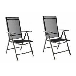 Sada 2 ks zahradní polohovatelných židlí - černá