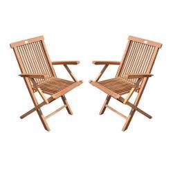 DIVERO skládací židle z týkového dřeva, 2 ks