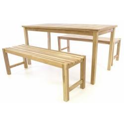 Zahradní set lavic a stolu DIVERO - neošetřené týkové dřevo - 150 cm