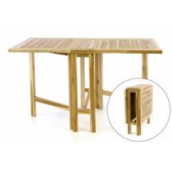 Týkový zahradní stůl DIVERO - skládací - 130 x 65 cm