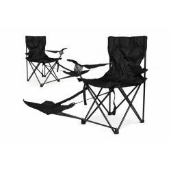 Sada 2 ks skládací židle Garth s područkami a opěrkou na nohy