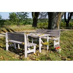 Zahradní dřevěná masivní lavice VIKING šedá - 150 cm