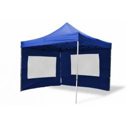 Zahradní párty stan nůžkový 3x3 m, modrý Garth + 4 boční stěny