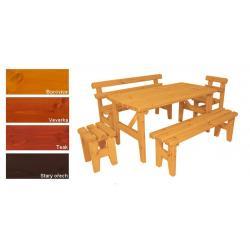 Zahradní dřevěný set z masivu Eduard - s povrchovou úpravou - 160 cm